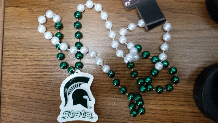 NCAA Michigan State Spartans Mardi Gras Beads with Medallion