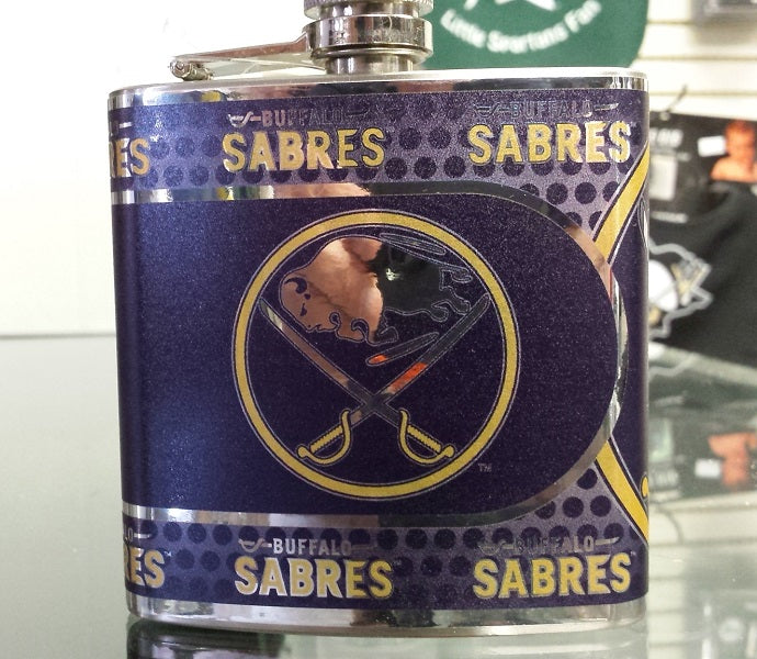 NHL Buffalo Sabres 6 oz Hip Flask with Hi-Def Metallic Wrap
