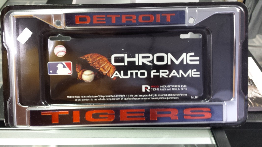 MLB Detroit Tigers Blue / Orange Laser Chrome License Plate Frame