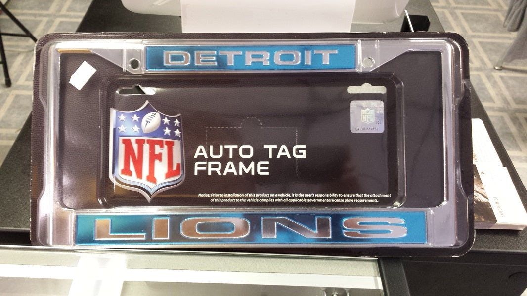 NFL Detroit Lions Blue / Silver Laser Chrome License Plate Frame