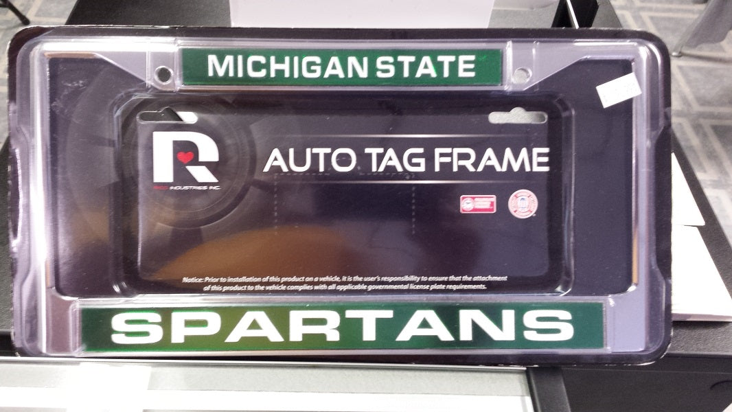 NCAA Michigan State Spartans Silver / Green Laser Chrome License Plate Frame