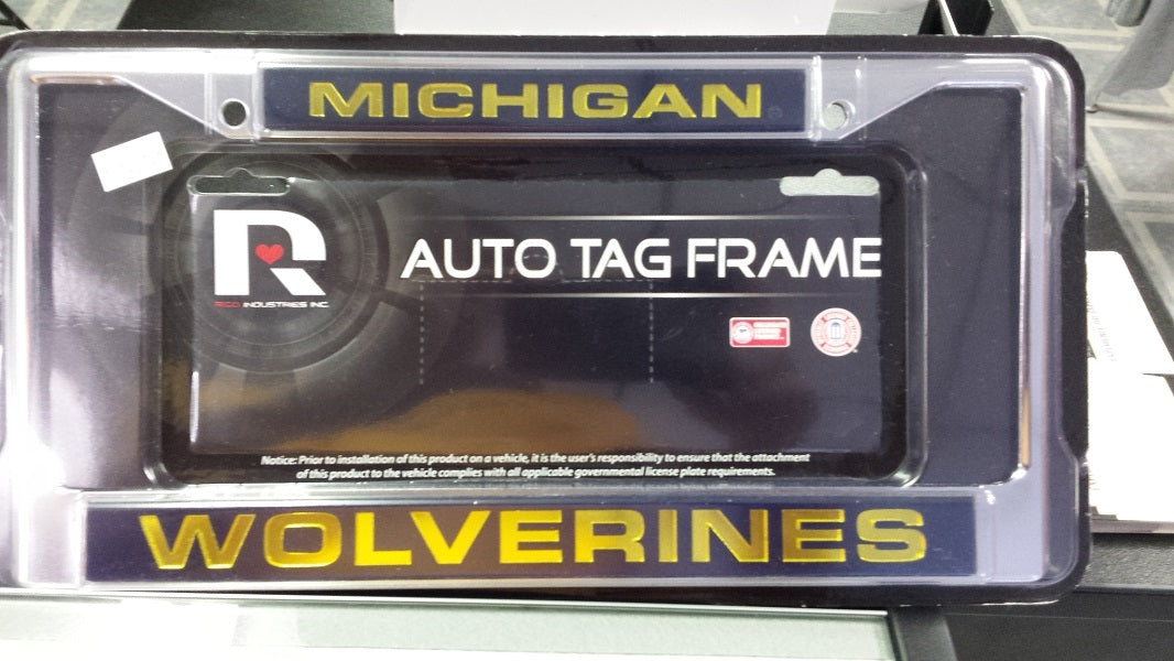 NCAA Michigan Wolverines Silver / Blue Laser Chrome License Plate Frame