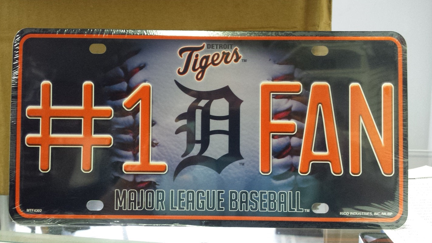 MLB Detroit Tigers Metal #1 Fan License Plate
