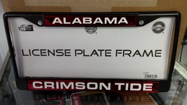 Ncaa Alabama Crimson Tide Black Laser Cut Chrome License