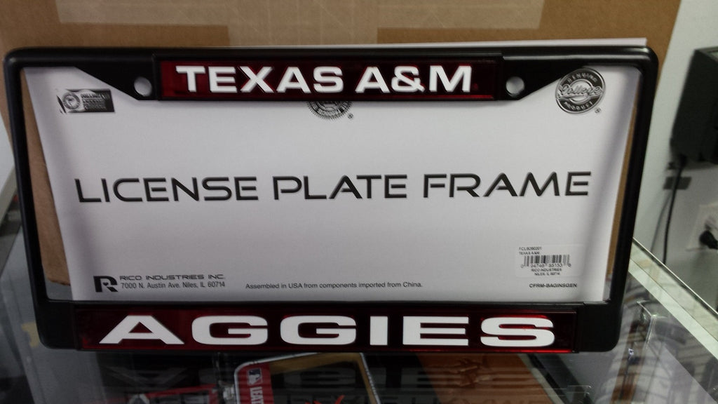 NCAA Texas A&M Aggies Black Laser Cut Chrome License Plate Frame