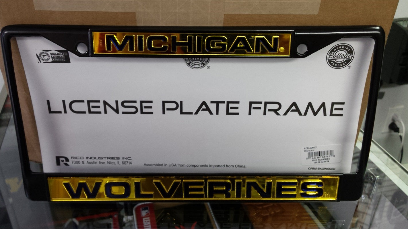 NCAA Michigan Wolverines Black Laser Cut Chrome License Plate Frame