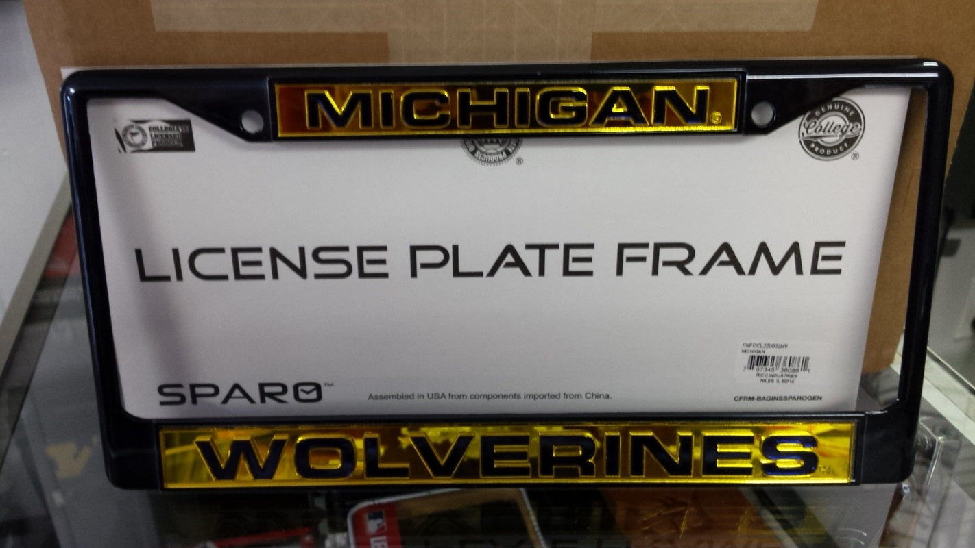 NCAA Michigan Wolverines Blue Laser Cut Chrome License Plate Frame