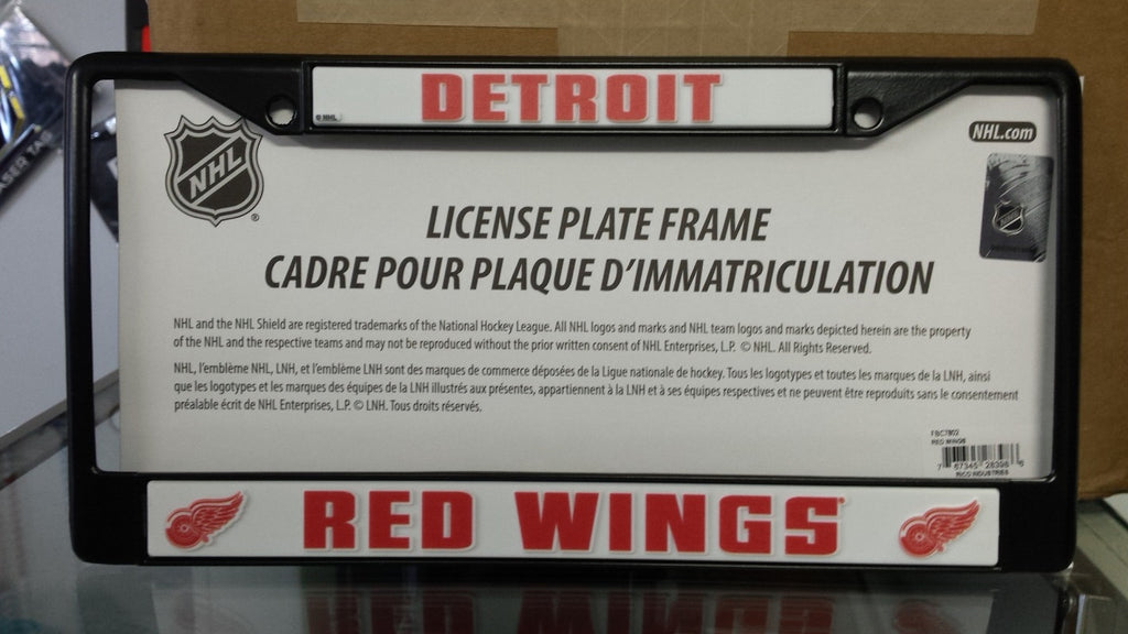 NHL Detroit Red Wings Black Chrome License Plate Frame