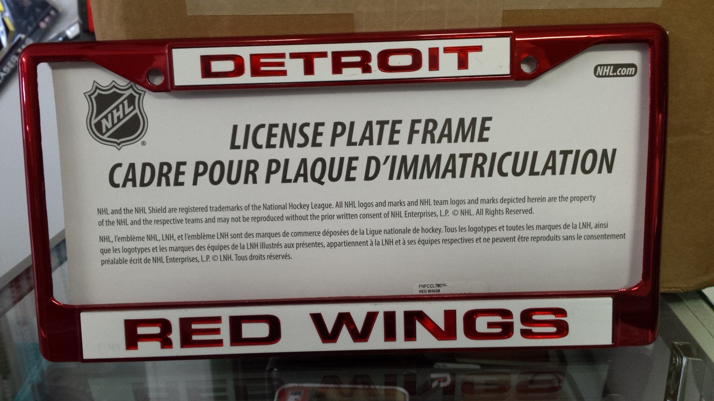 NHL Detroit Red Wings Red Laser Cut Chrome License Plate Frame