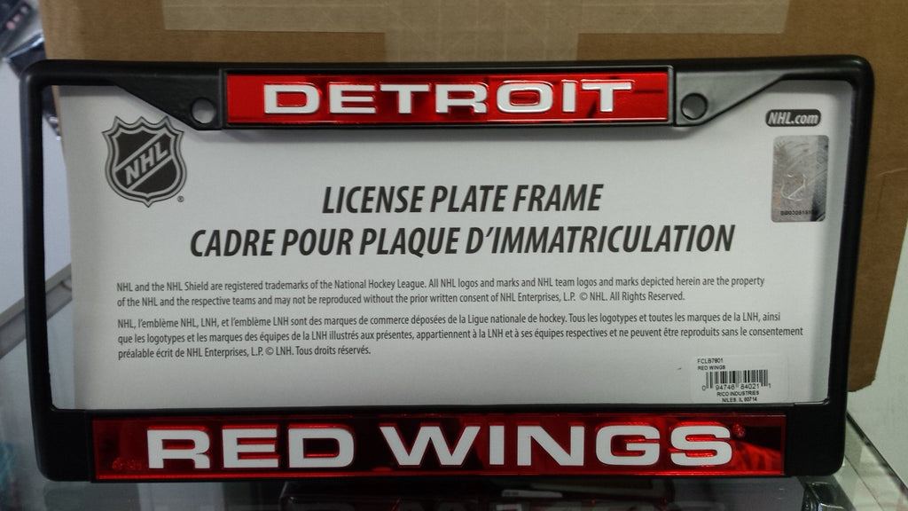 NHL Detroit Red Wings Black Laser Cut Chrome License Plate Frame