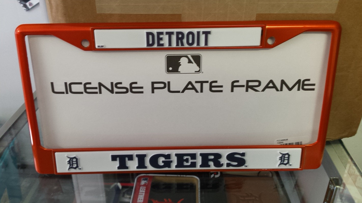 MLB Detroit Tigers Orange Colored Chrome License Plate Frame