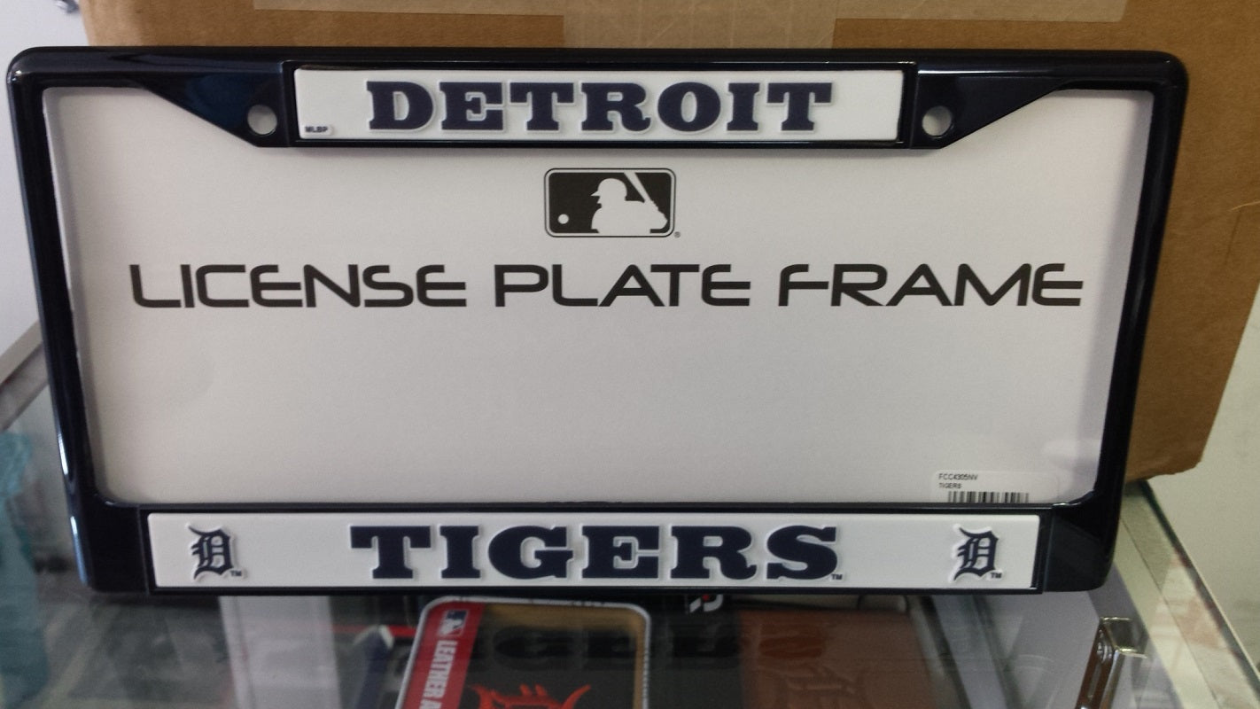 MLB Detroit Tigers Navy Colored Chrome License Plate Frame