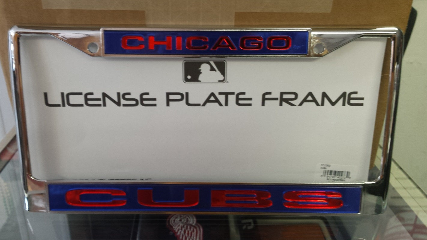 MLB Chicago Cubs Blue / Red Laser Chrome License Plate Frame