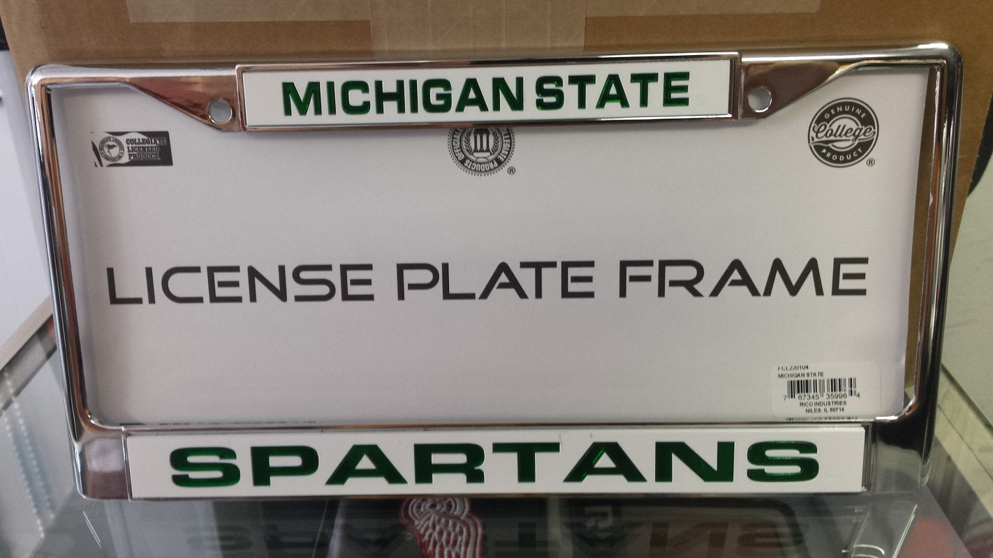 NCAA Michigan State Spartans Silver / White Laser Chrome License Plate Frame