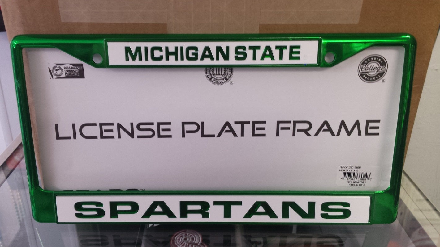 NCAA Michigan State Spartans Green Laser Cut Chrome License Plate Frame