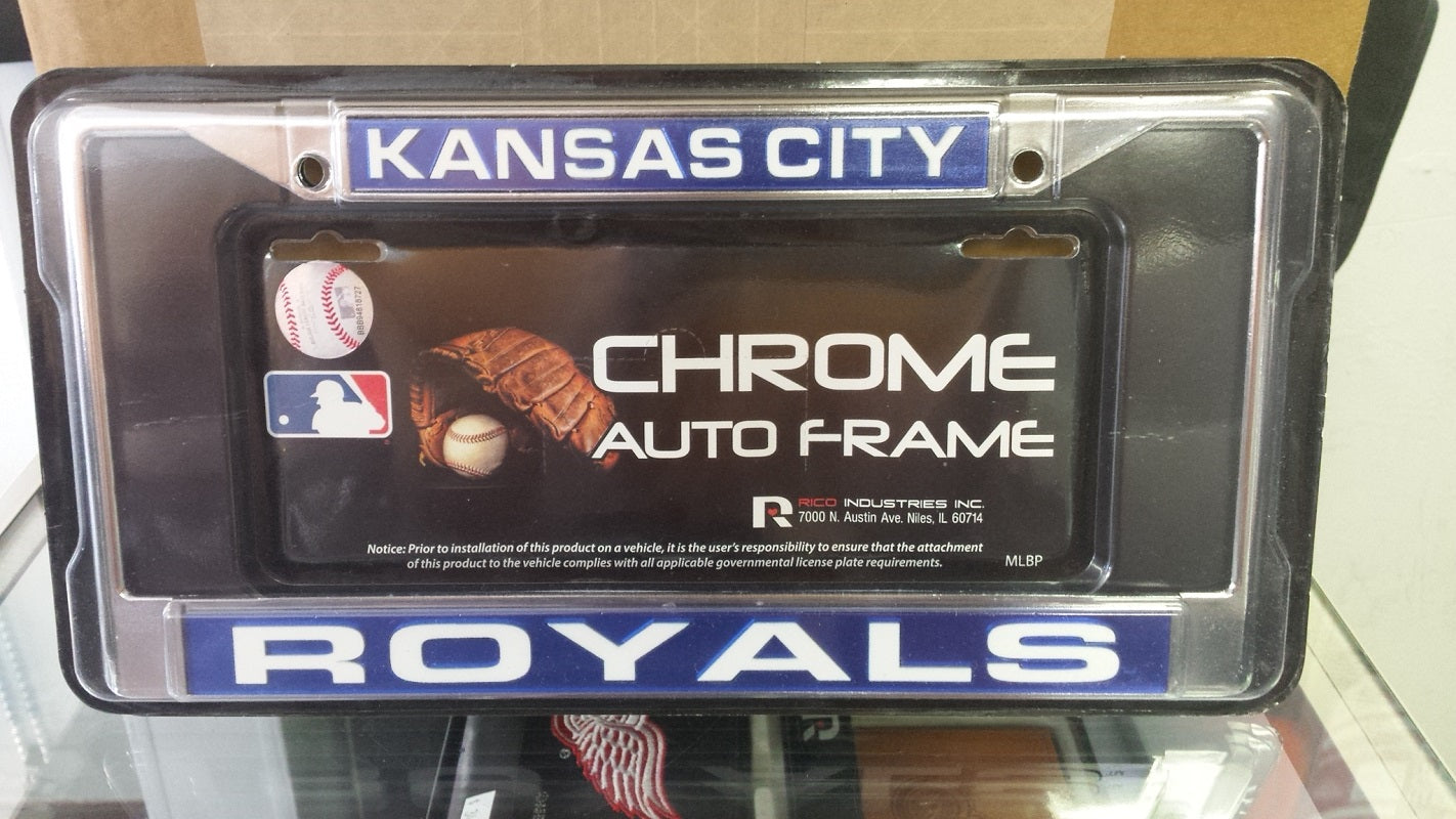 MLB Kansas City Royals Blue / White Laser Chrome License Plate Frame