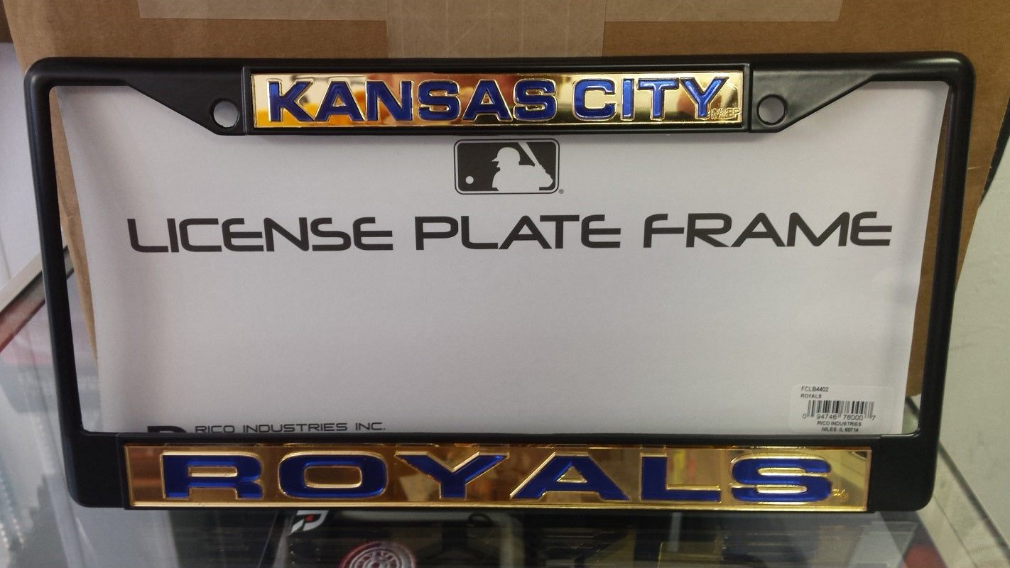 MLB Kansas City Royals Black Laser Cut Chrome License Plate Frame