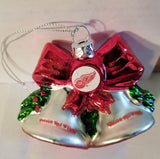 NHL Detroit Red Wings Glitter Bell Christmas Ornament