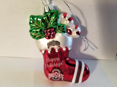NCAA Ohio State Buckeyes Glitter Stocking Christmas Ornament
