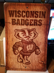 "NCAA Wisconsin Badgers Fantique Wall Sign 17"" X 11"" X 1/4"" (Read Description)"
