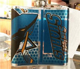 NHL San Jose Sharks 6 oz Hip Flask with 360 Wrap - Hockey Cards Plus LLC  - 2