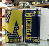 NCAA Michigan Wolverines 6oz Stainless Steel Flask with 360 Wrap - Hockey Cards Plus LLC  - 2