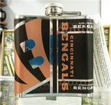 NFL Cincinnati Bengals 6oz Stainless Steel Flask with 360 Wrap - Hockey Cards Plus LLC  - 2