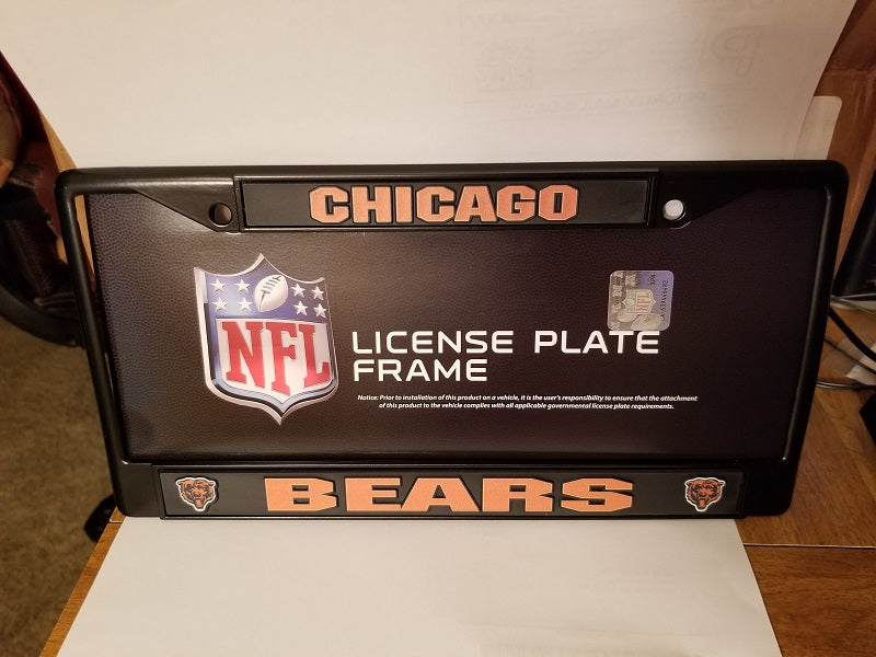 NFL Chicago Bears Black Chrome License Plate Frame