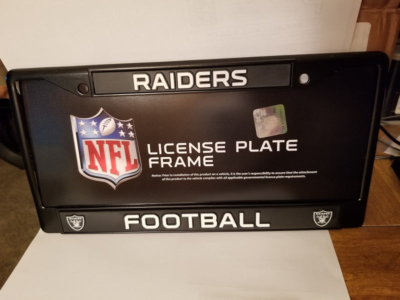 NFL Oakland Raiders Black Chrome License Plate Frame