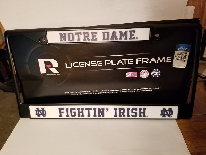 NCAA Notre Dame Fighting Irish Black Chrome License Plate Frame