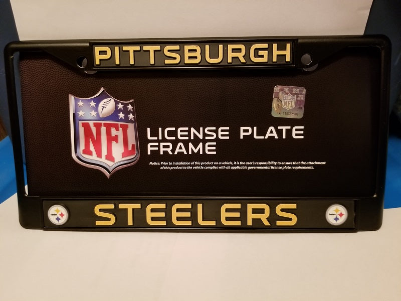 NFL Pittsburgh Steelers Black Chrome License Plate Frame