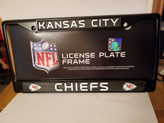 NFL Kansas City Chiefs Black Chrome License Plate Frame