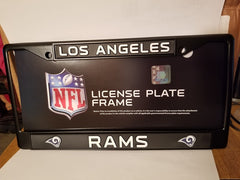 NFL Los Angeles Rams Black Chrome License Plate Frame