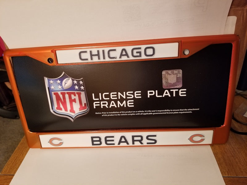 NFL Chicago Bears Orange Colored Chrome License Plate Frame