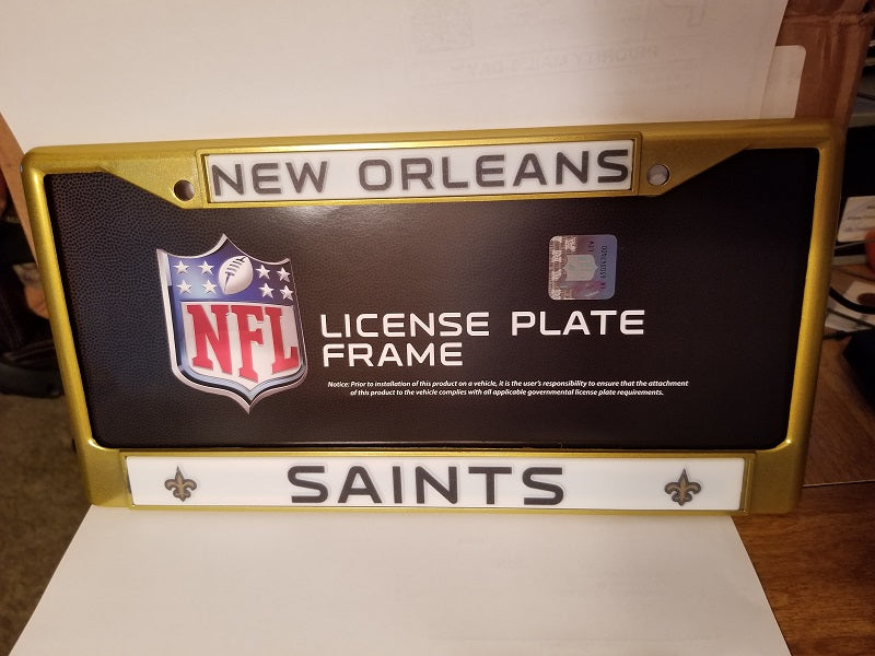 NFL New Orleans Saints Gold Colored Chrome License Plate Frame
