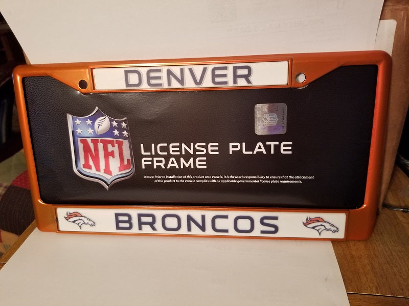 NFL Denver Broncos Orange Colored Chrome License Plate Frame