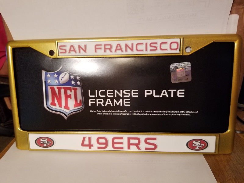 NFL San Francisco 49ers Gold Colored Chrome License Plate Frame