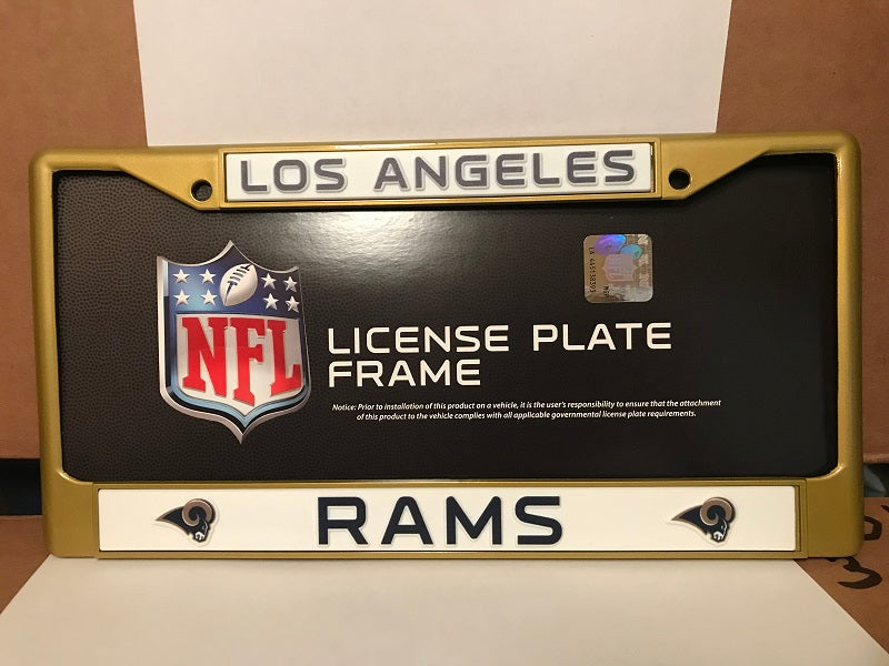 NFL Los Angeles Rams RETRO Gold Colored Chrome License Plate Frame