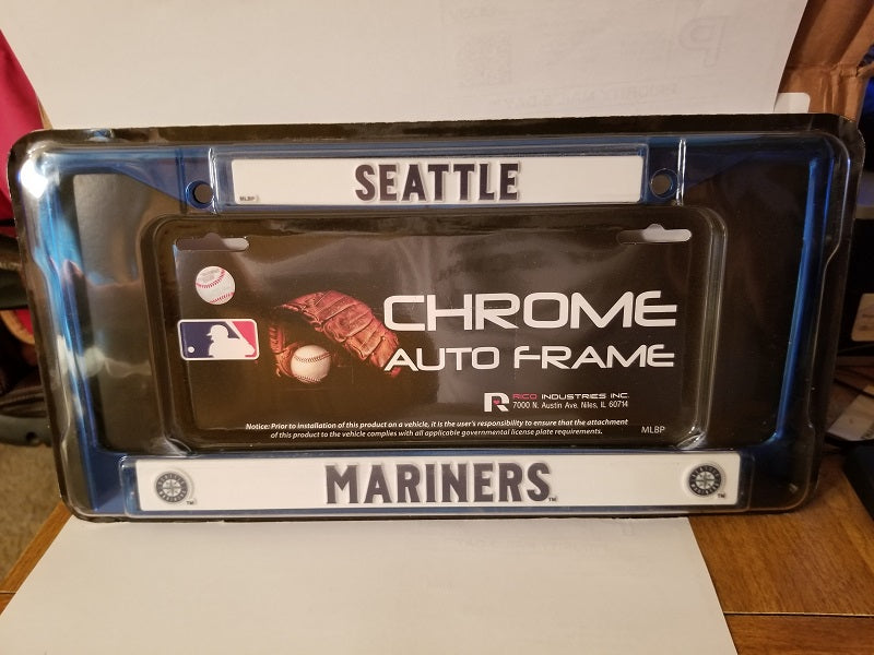 MLB Seattle Mariners Navy Colored Chrome License Plate Frame