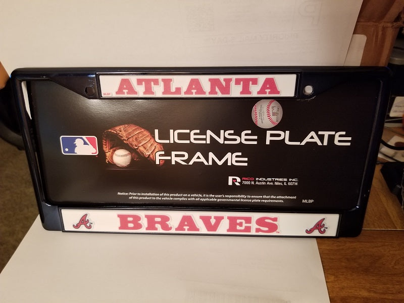 MLB Atlanta Braves Navy Colored Chrome License Plate Frame