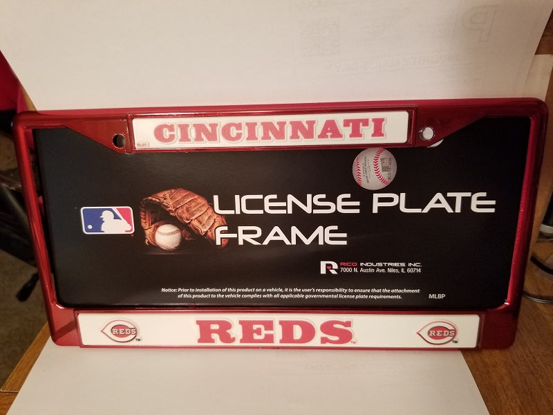 MLB Cincinnati Reds Red Colored Chrome License Plate Frame