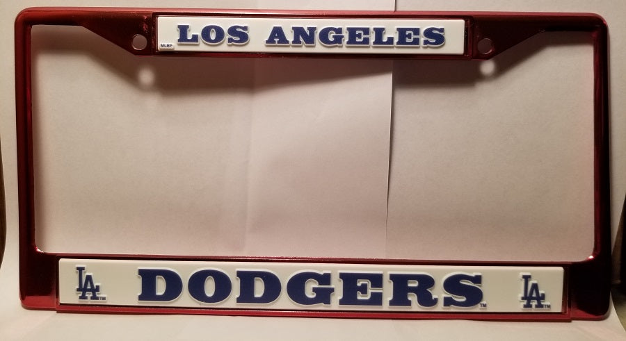 MLB Los Angeles Dodgers Red Colored Chrome License Plate Frame
