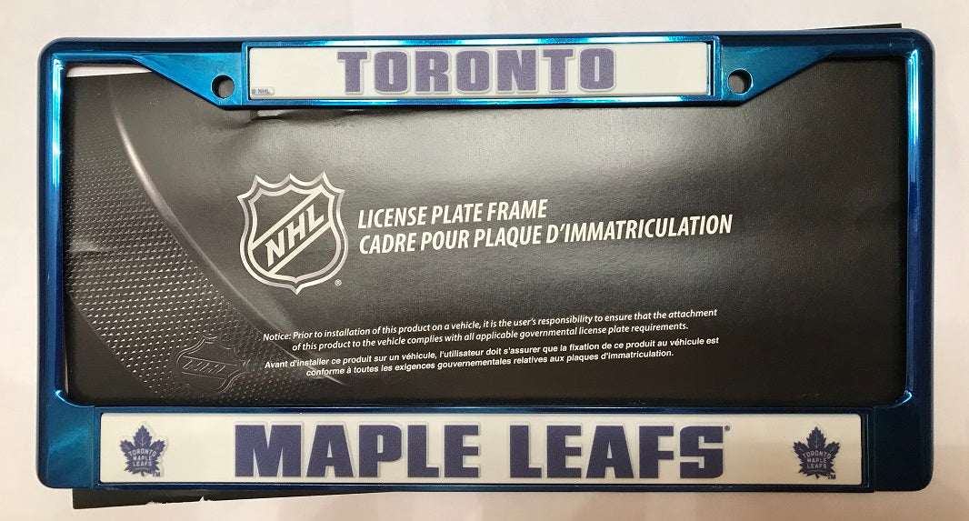 NHL Toronto Maple Leafs Blue Colored Chrome License Plate Frame