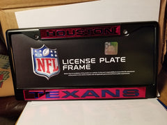 NFL Houston Texans Black Laser Cut Chrome License Plate Frame