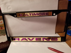 NFL Baltimore Ravens Black Laser Cut Chrome License Plate Frame