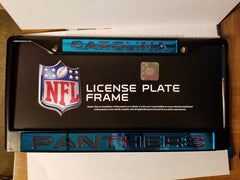 NFL Carolina Panthers Black Laser Cut Chrome License Plate Frame