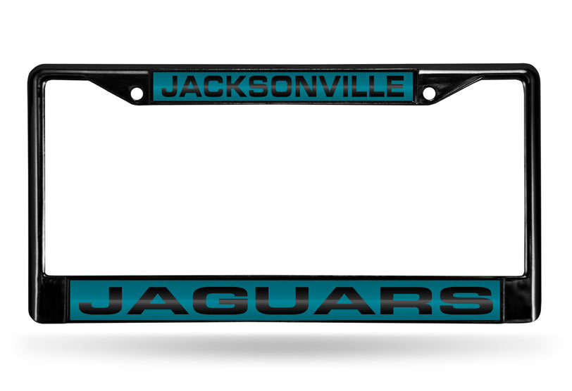 NFL Jacksonville Jaguars Black Laser Cut Chrome License Plate Frame