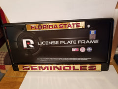 NCAA Florida State Seminoles Black Laser Cut Chrome License Plate Frame