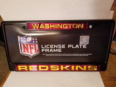 NFL Washington Redskins Black Laser Cut Chrome License Plate Frame