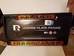 NCAA Miami Hurricanes Black Laser Cut Chrome License Plate Frame